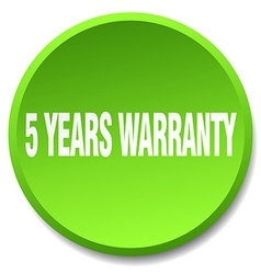 5 years warranty green round flat isolated push vector