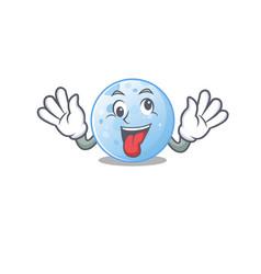 A cartoon design blue moon having crazy face vector