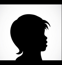 abstract child profile black and white silhouette vector image
