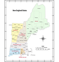 administrative map new england states usa vector image