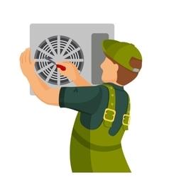 Air conditioner unit repair and installing concept vector image