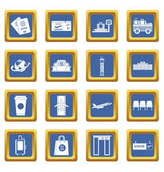 airport icons set blue vector image