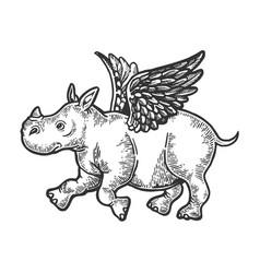 angel flying baby rhinoceros engraving vector image