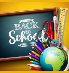 back to school design with globe magnifying glass vector image