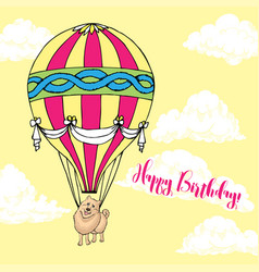 Background with dog and air balloon vector