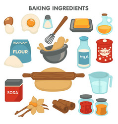Baking ingredients food and cooking kitchen items vector
