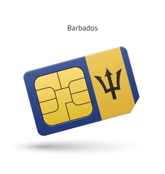 Barbados mobile phone sim card with flag vector