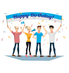 birthday party with happy young people vector image vector image