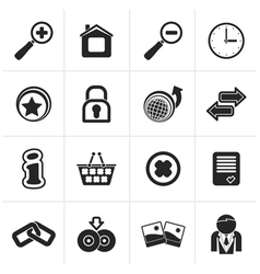 Black Web Site and Internet icons vector image vector image