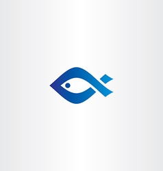 blue icon fish logo vector image