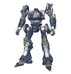 blue model robot on white background vector image