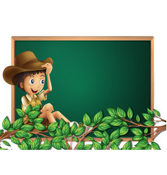 Boy scout on blackboard banner vector