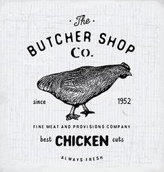 Butcher Shop vintage emblem chiken meat products vector image