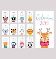Calendar 2019 cute monthly calendar with animals vector