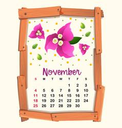 Calendar template for november vector