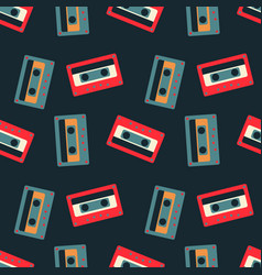 cassette tapes floating seamless pattern vector image