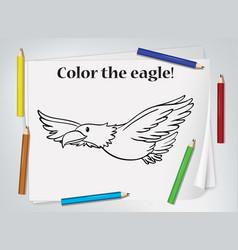 Children eagle coloring worksheet vector