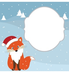 Christmas Fox Card vector