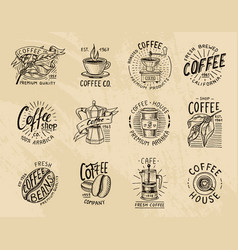 coffee logos modern vintage elements for shop vector image