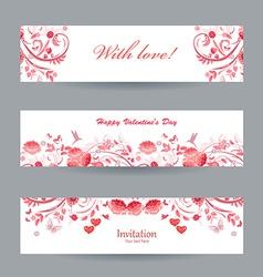 Collection of beautiful romantic banners pink vector image
