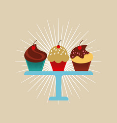 Colorful cupcakes design vector