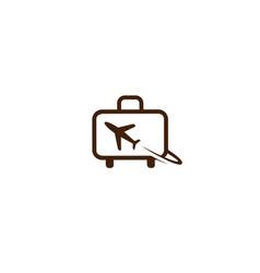 Creative suitcase travel airplane symbol creative vector