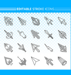 cursor simple black line icons set vector image