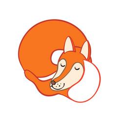 Cute cartoon sleeping fox vector
