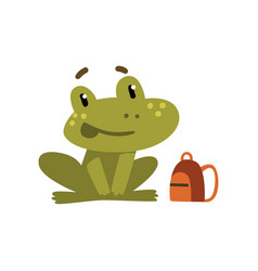 Cute little frog funny amphibian animal cartoon vector