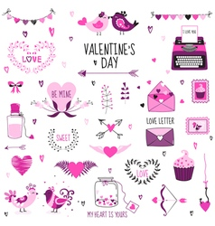 Cute valentines day and love set vector
