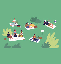 diverse people spending time at summer park vector image