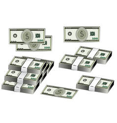 dollars banknote set american money vector image