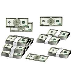 Dollars banknote set american money vector