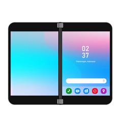 dual screen folding phone gadget smartphone vector image