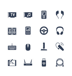 Electronics and gadgets icon set tv tuner audio vector