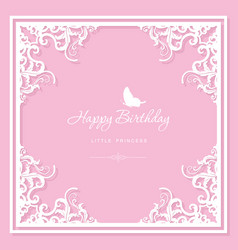 Elegant decorative frame birthday greeting card vector