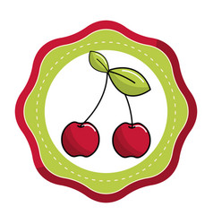 Emblem sticker cherry fruit icon stock vector