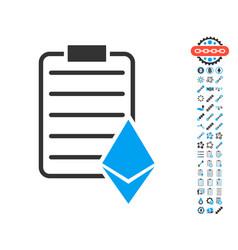 ethereum contract icon with bonus pictograms vector image