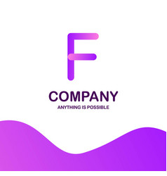 f company logo design with purple theme vector image