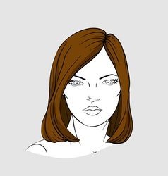 Face of woman with medium long hair vector image