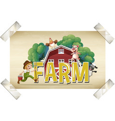 Flashcard for word farm with farmer and animals vector