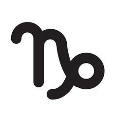 Flat black capricorn sign icon vector