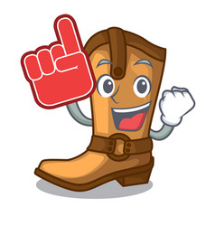 foam finger leather cowboy boots shape cartoon vector image