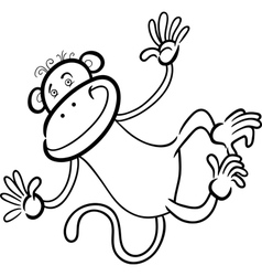 funny monkey for coloring book vector image