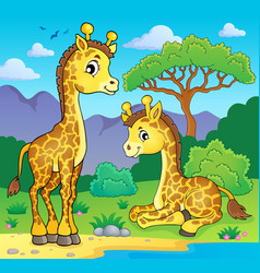 Giraffes in nature theme image 1 vector