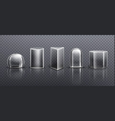 Glass or clear acrylic domes different shapes vector