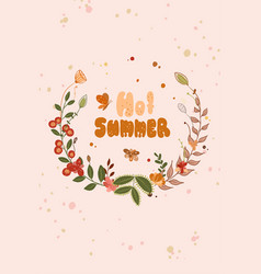 Greeting card with inscription hot summer vector