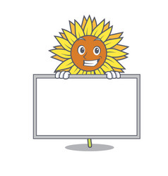 Grinning with board sunflower character cartoon vector