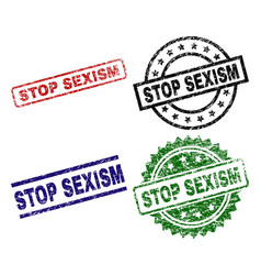 Grunge textured stop sexism seal stamps vector
