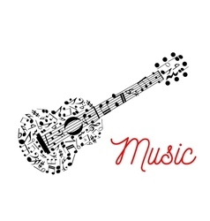 Guitar composed of musical notes icon vector